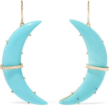 Crescent Moon 18-karat Gold Turquoise Earrings - one size Andrea Fohrman 9mUiauL3C