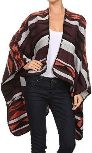 New RENEEC. Women's Winter Open Front Wearover Knit Wraps Shawl Cape Blanket Sweater Poncho online shopping #blanketsweater