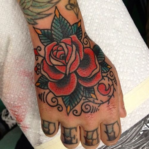 Fuckyeahhandtattoos Traditional Hand Tattoo Traditional Rose Tattoos Rose Hand Tattoo