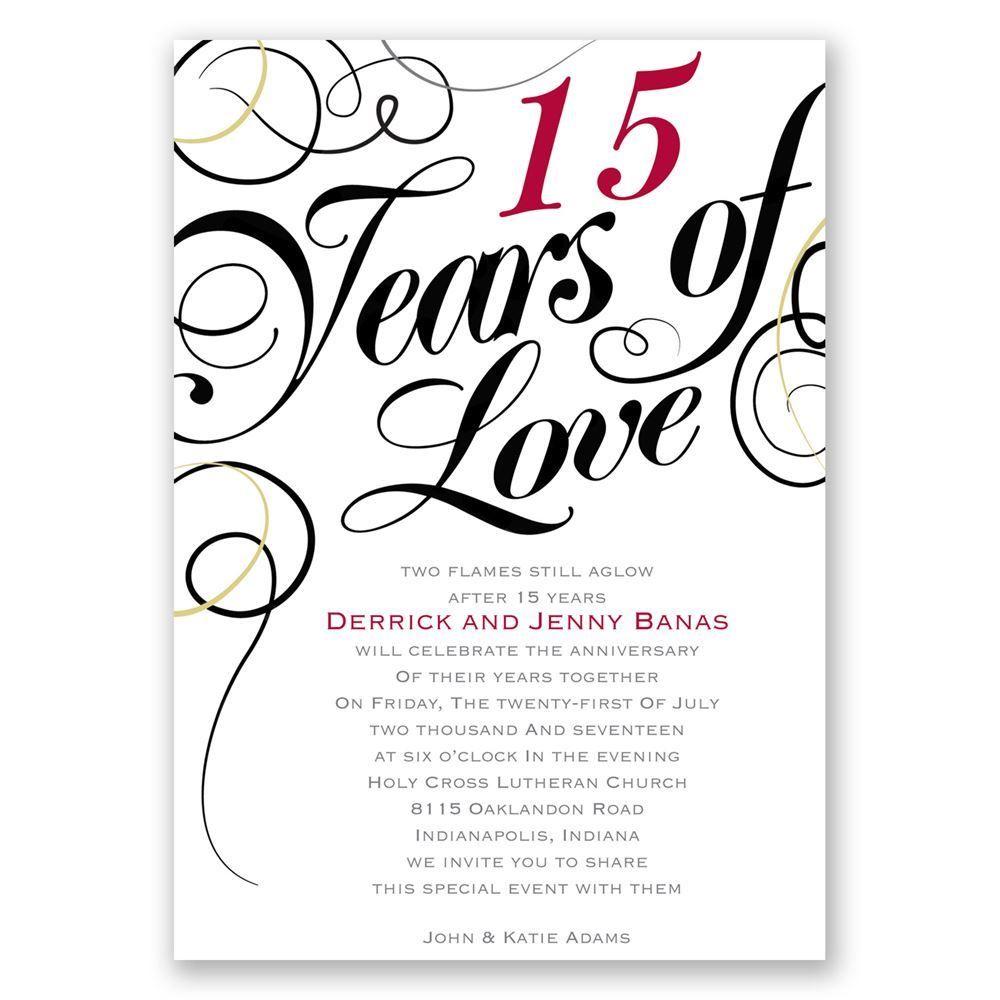 Years Of Love Anniversary Invitation Anniversary Invitations