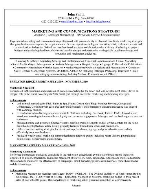 A professional resume template for a Marketing Specialist Want it - resume now com