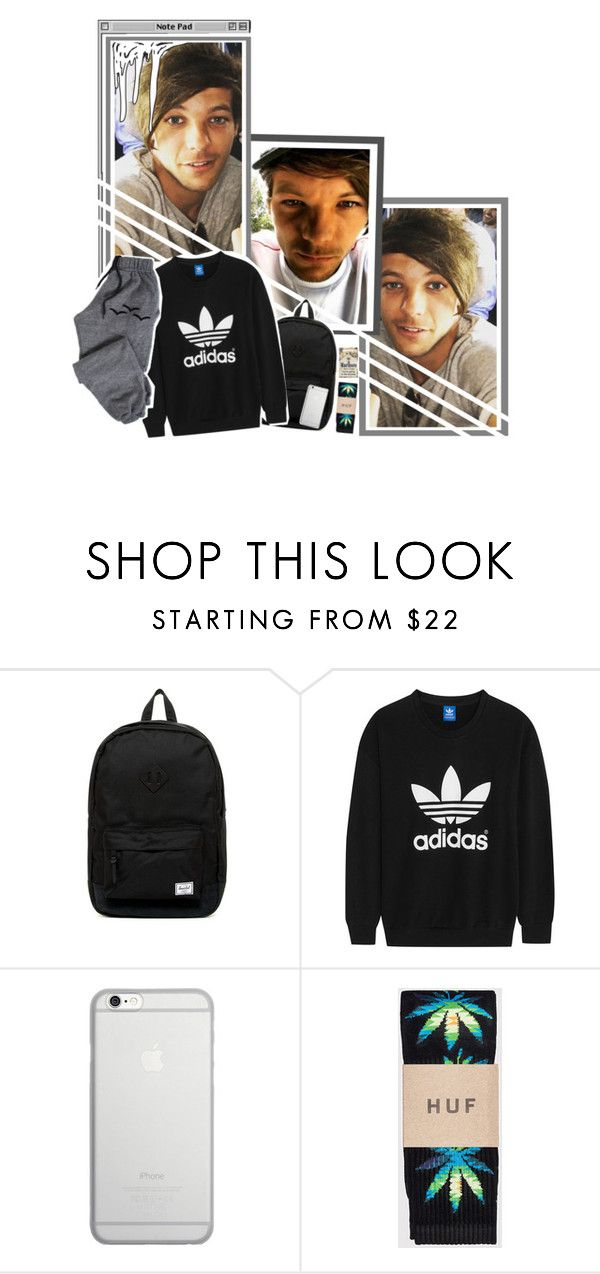 """-louis ootn; with dani"" by unodirectionanons ❤ liked on Polyvore featuring Herschel Supply Co., adidas Originals, Native Union, HUF, American Apparel, men's fashion and menswear"