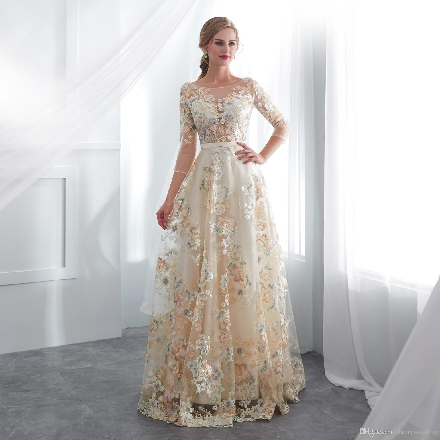Colored Wedding Dresses Long Sleeves Lace Romantic Bridal Gowns Country Wedding Dress Custom Made Rob Robe Mariee 23e007 From Cherrywedding 93 47 Dhgate Com Floral Prom Dresses Wedding Dress Long Sleeve Long [ 1536 x 1536 Pixel ]