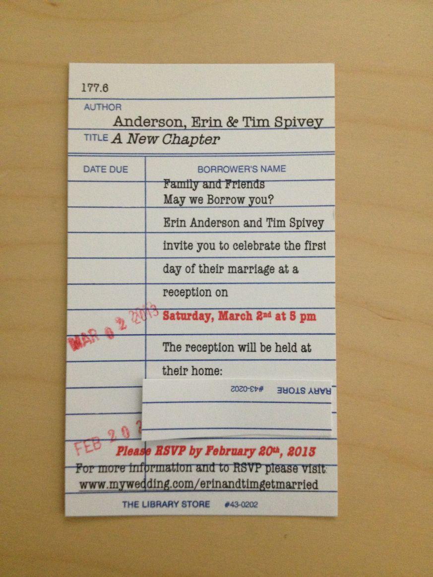 Library Invitation Card.  Library card wedding invitations, Photo