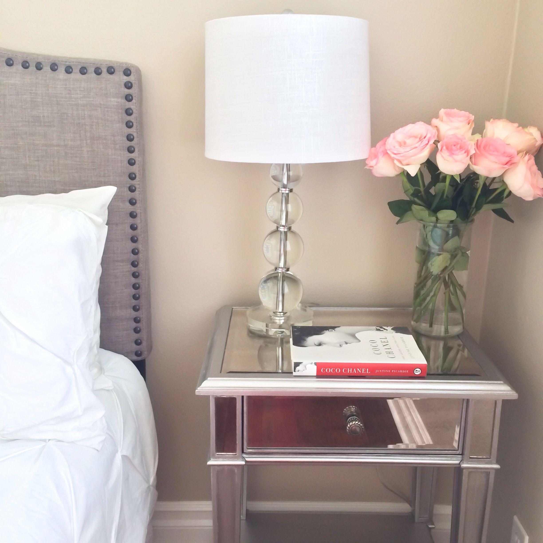 Guest bedroom - grey headboard with stud detail edging ...