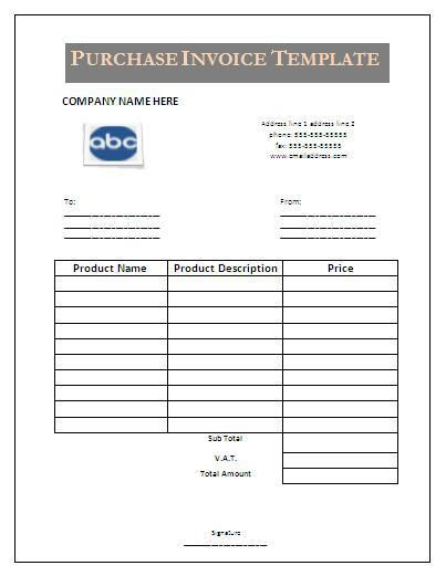 9+ Purchase Invoice Templates | Word, Excel & PDF Templates | www ...