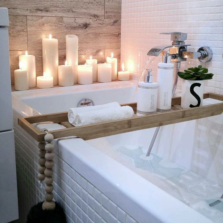 spa badezimmer resort stil kerzen pflegeprodukte aktuelle deko ...