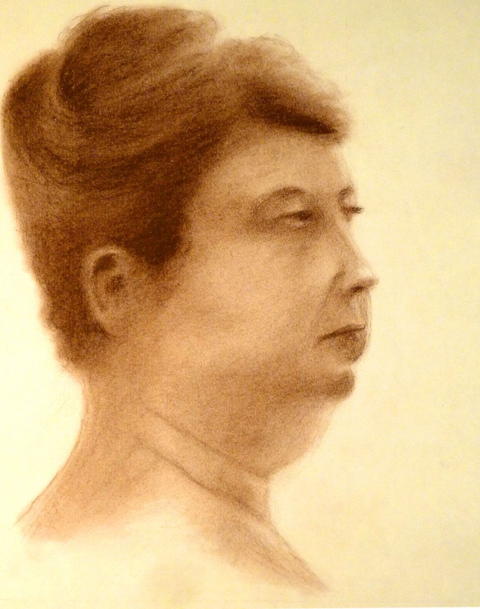 This is a sepia colored Conte drawing completed in January 2012 at the Philadelphia Sketch Club