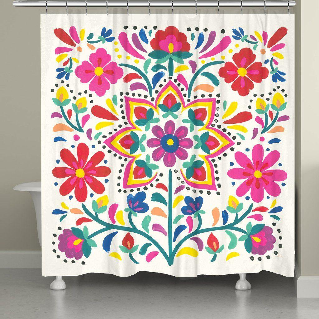 Folk Art Floral Light Shower Curtain In 2020