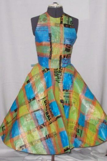 recycled ironed plastic bag dress