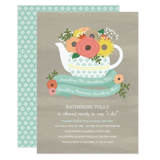 Flower garden teapot bridal shower invitation bridal showers flower garden teapot bridal shower invitation filmwisefo