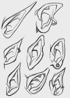 Human And Elf Ears Reference Drawing By Zerkcie On Deviantart Elf Drawings Elf Ears Ear Art