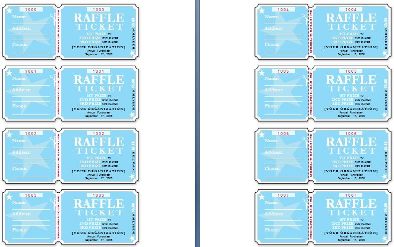 Sample Raffle Tickets The template has six tickets on a page and - event ticket template free download