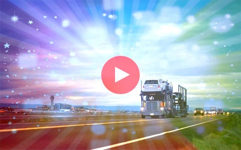 semi truck car hauler stylish in column on night road be Big rig semi t Classic semi truck car hauler stylish in column on night road be Big rig semi t  sunset at the sto...