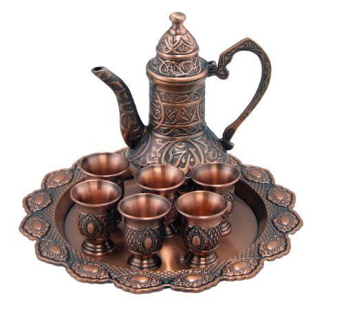 Arabic Bedouin Copper Coffee Tea Service Set Beautiful Or