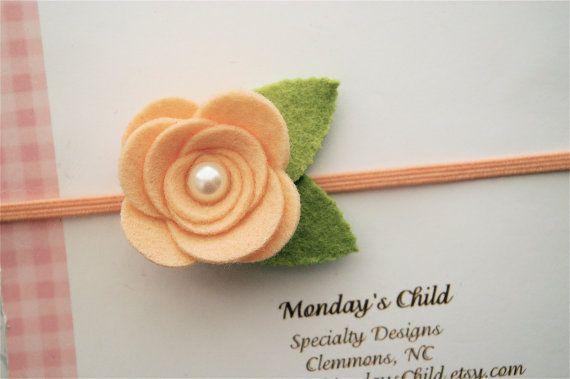 Peach Felt Flower Headband - Felt Headband - Peach Baby Headband, Newborn Headband, Baby Headband, Toddler Headband, Girls Headband