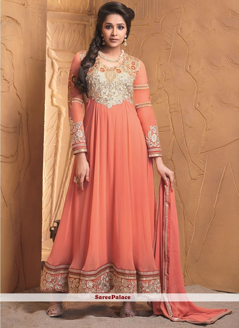Designer salwar kameez mesmeric peach color net designer suit - Find This Pin And More On Color Peach Pastel Peach Color Designer Suit