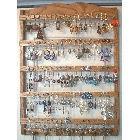 Earring Holder Jewelry Organizer Solid Oak Wood Wall Mount Honey Stained Necklace Rack Wooden Best