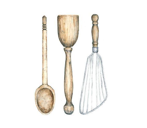 Vintage Kitchen Utensils Illustration antique kitchen utensils watercolor giclee print - 8x10 // kitchen