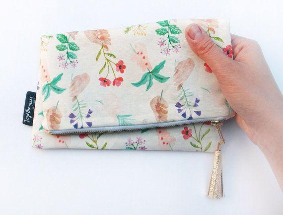 Triés sur le volet herbes coton sac / pochette par esthersandler