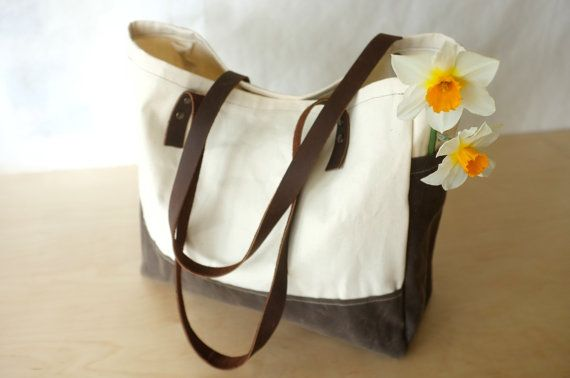 Organic Canvas Tote  Waxed Cotton Canvas  Side by BarnacleBags, $84.00