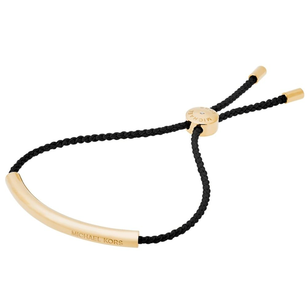 Michael kors heritage gold tone black rope bracelet fashion