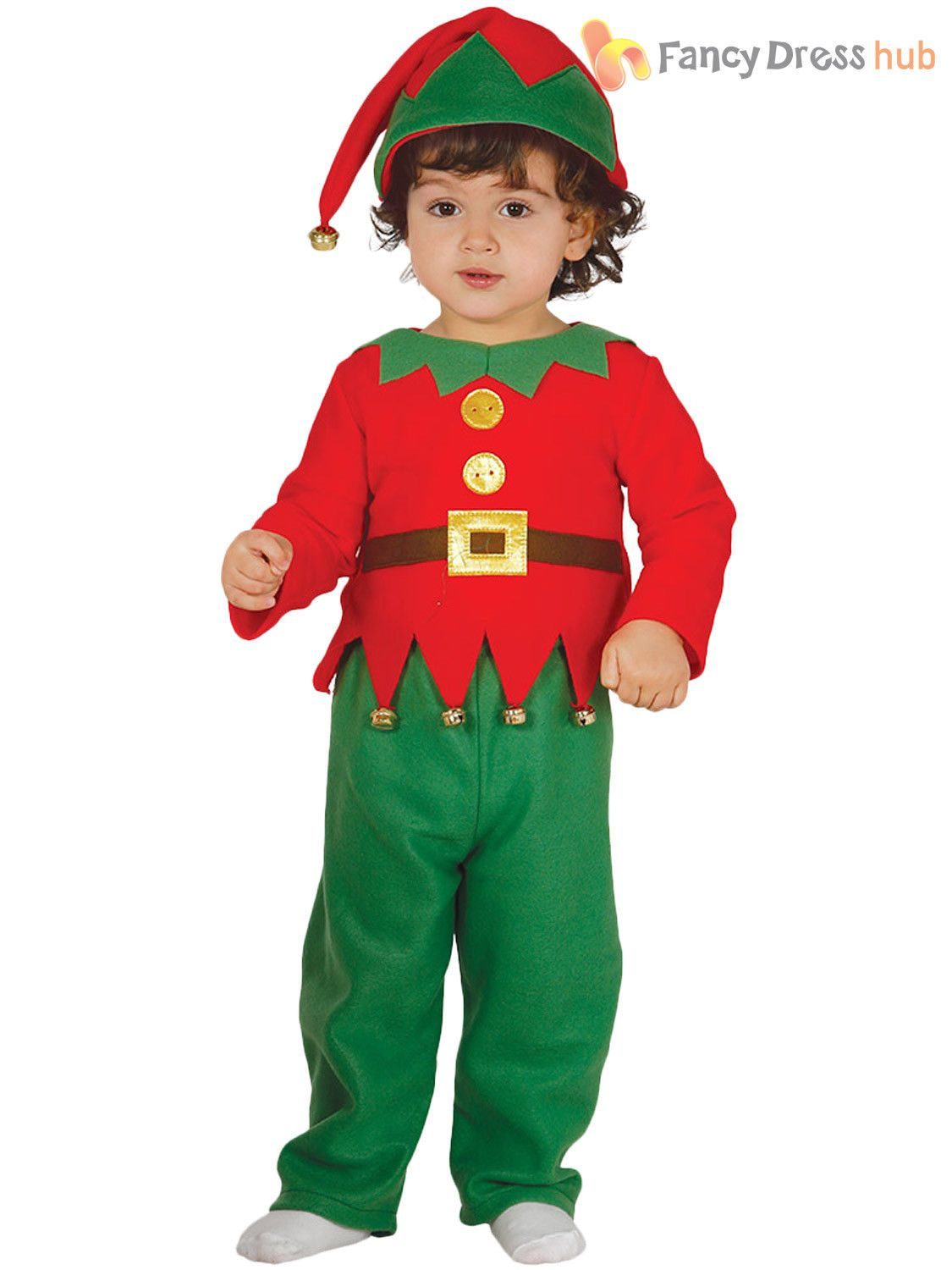 ce0aab3f18dcd Baby Toddler Elf Costume Boys Girls Christmas Fancy Dress Santas Helper  Outfit