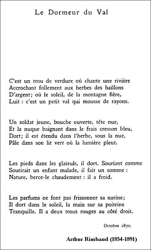Arthur Rimbaud Le Dormeur Du Val Rimbaud Poeme Poeme Et