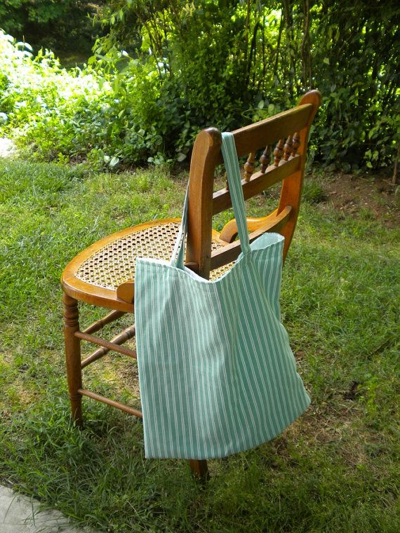 Mint Ticking Slim Bag Japanese Style striped market by LetsCoverIt