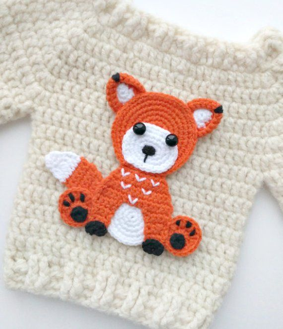 PATTERN Fox Applique Crochet Pattern PDF Woodland Animals Pattern Instant Download Accessories Motif Ornament Baby Blanket Baby Gift ENG #craftstomakeandsell