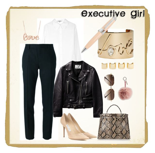 Executive Girl by rhea33 on Polyvore featuring polyvore, fashion, style, Carven, Yves Saint Laurent, Jimmy Choo, Fendi, Lanvin, Ray-Ban, ICE London, Luv Aj, women's clothing, women's fashion, women, female, woman, misses and juniors