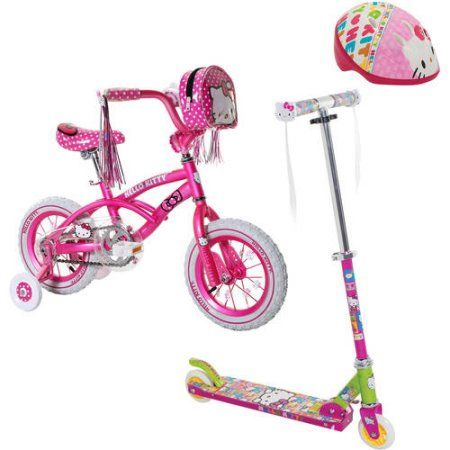 Your Choice: Hellow Kitty Scooter or Bike w/ Safety Gears bundle, Pink