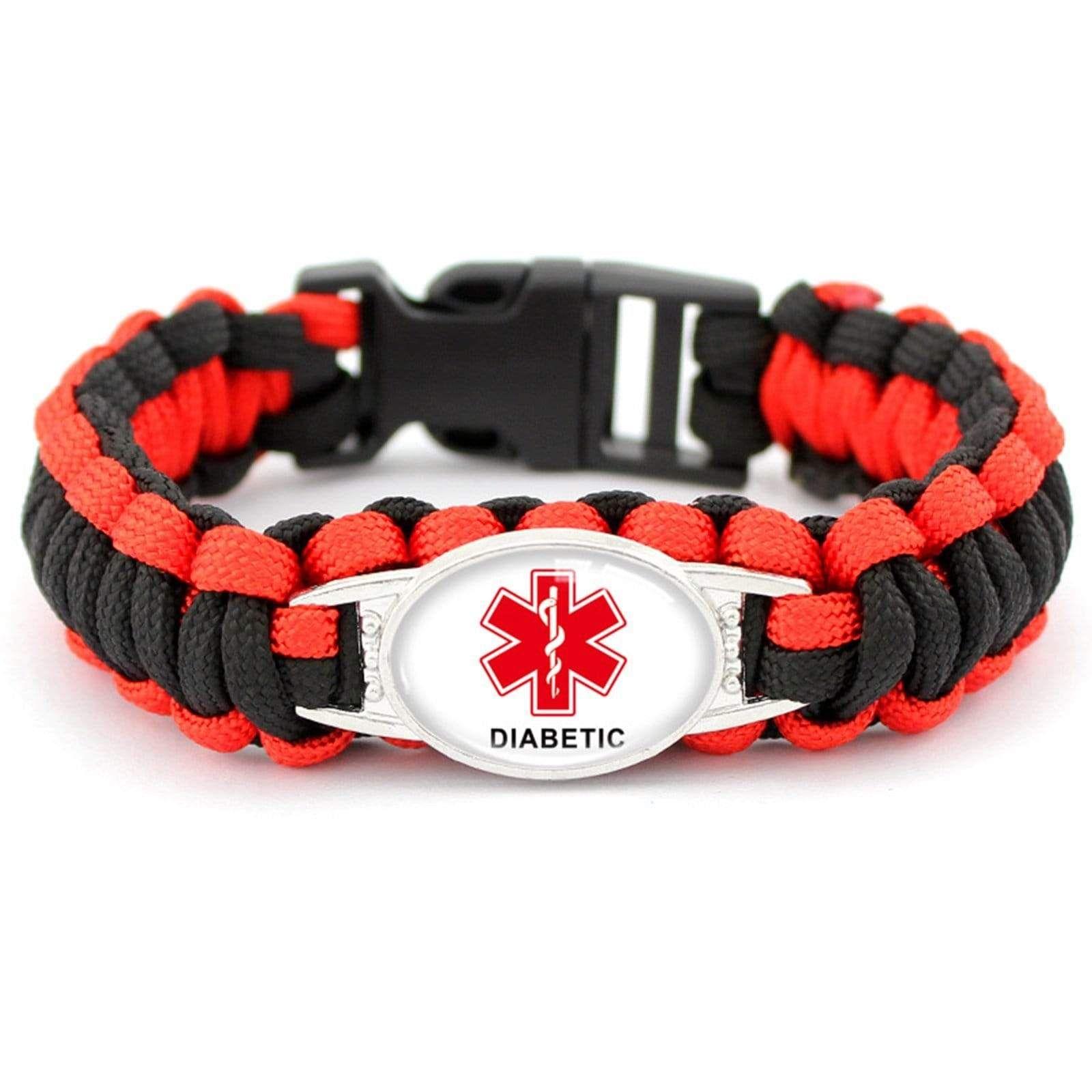 Beydodo Medical Alert ID Bracelets for Women Adjustable Braided Rope Bracelet with Tag Medical Sign Mens Bracelet Stainless Steel Wide