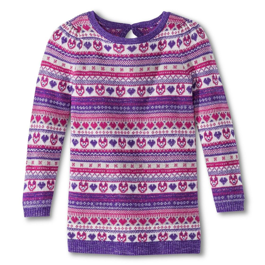 Infant Toddler Girls' Long Sleeve Fair Isle Sweater Tunic - Purple ...