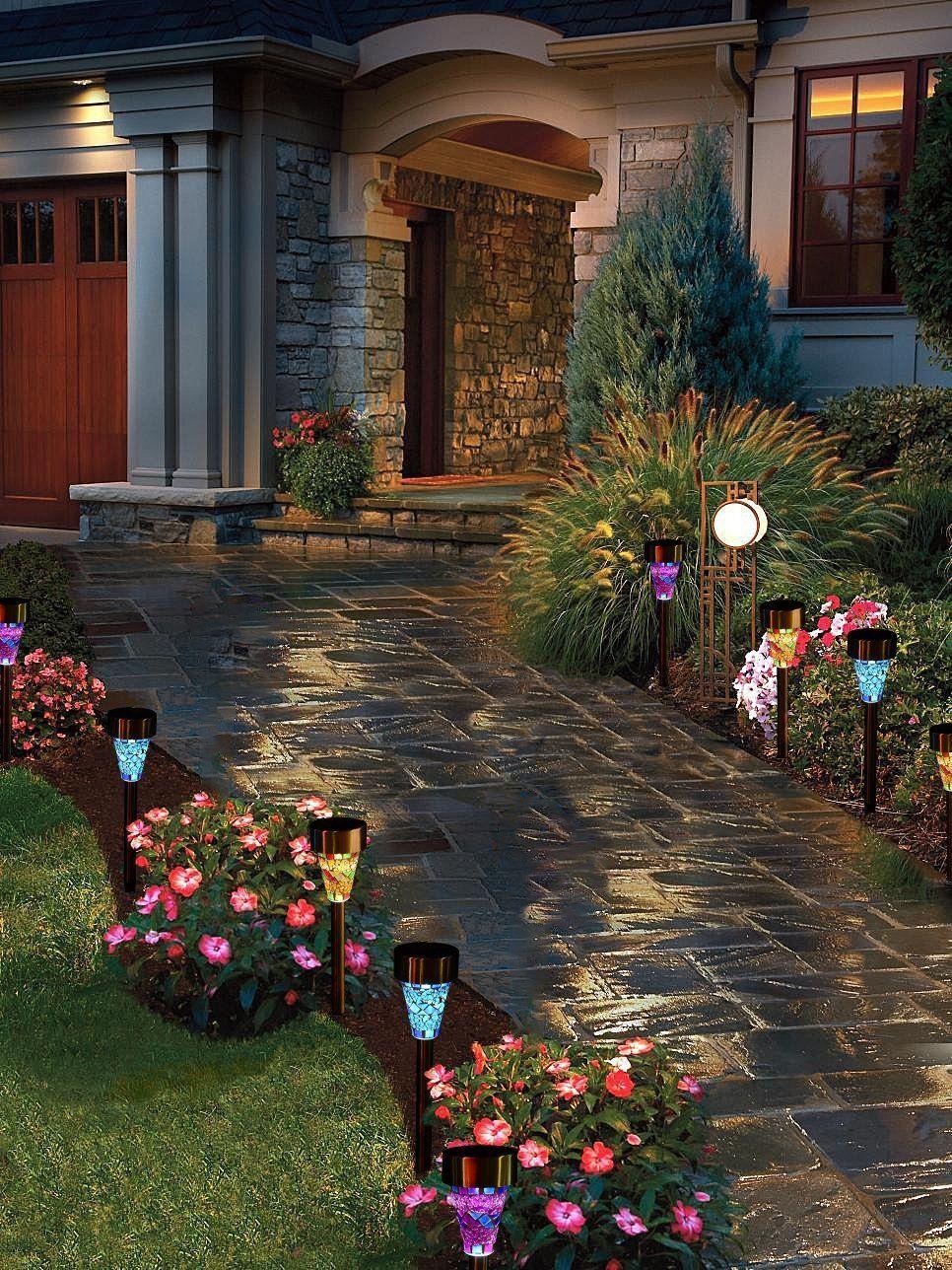 Led Solar Outdoor Garden Lights - 3 Color Mosaic Stake Landscape ...