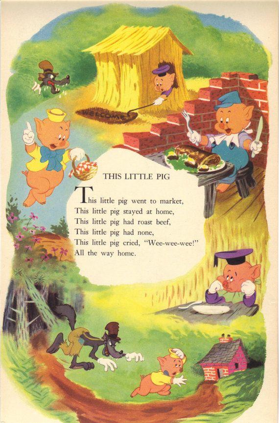 1949 Vintage Disney Nursery Rhyme Print Page By Myspecialtreasures 10 00