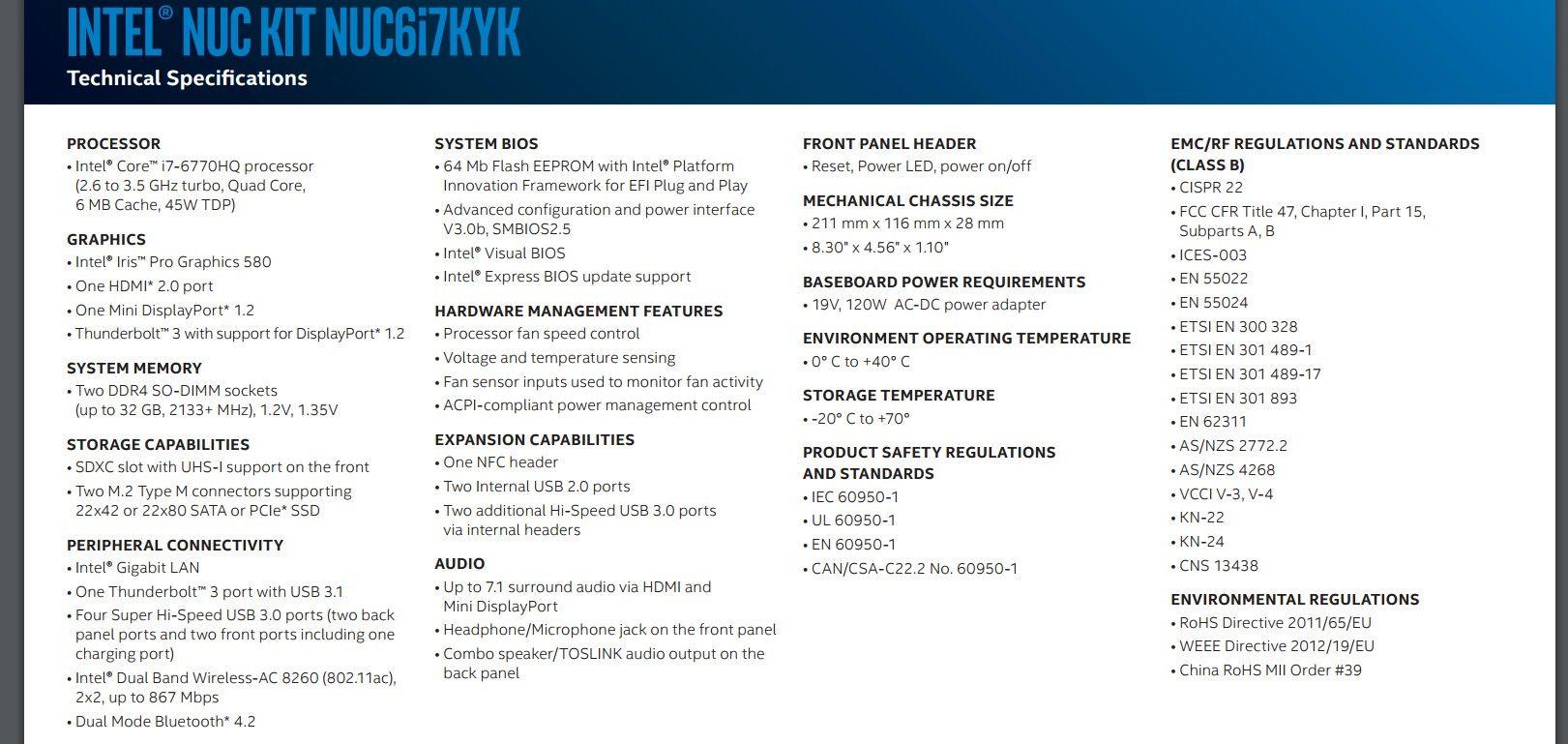 Intel BOXNUC6I7KYK4 i7-6770HQ IRIS Pro NUC Barebone Kit