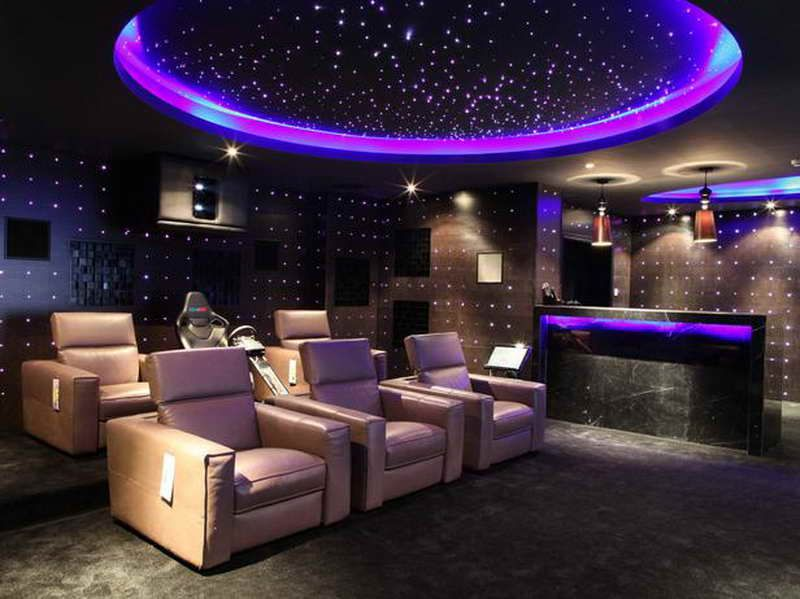 futuristic home theater room design with lighting ideas - Home Theater Room Design