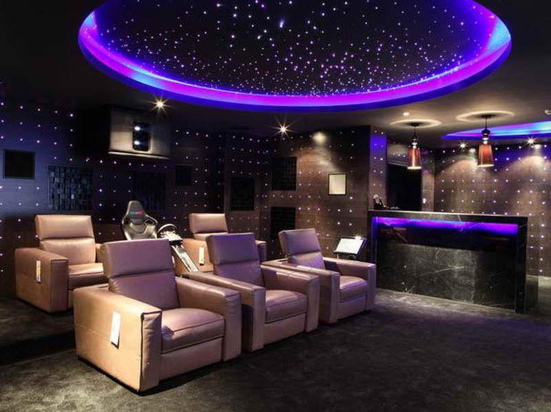 Marvelous Cinema Room Design Ideas Part - 10: Futuristic Home Theater Room Design With Lighting Ideas