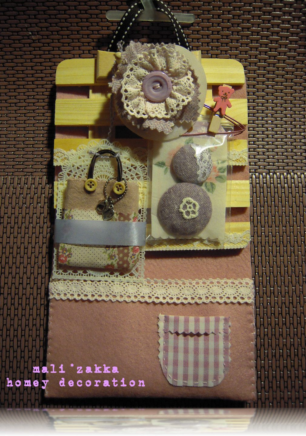 homey decorative gift .... put all those fabric little things on it... handmade with love