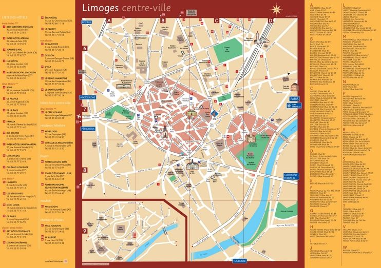 Limoges hotels and sightseeings map | Maps | Pinterest | France and City
