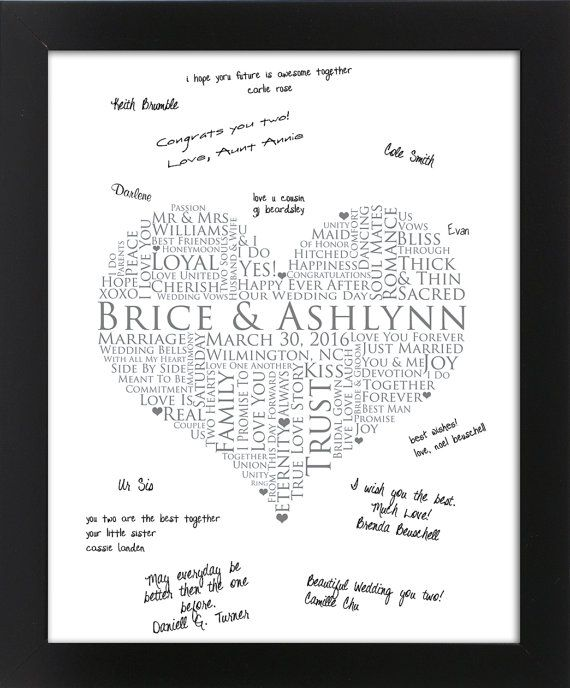 Interactive Wedding Ideas: Interactive Art Print Guestbook, Personalized Word Art