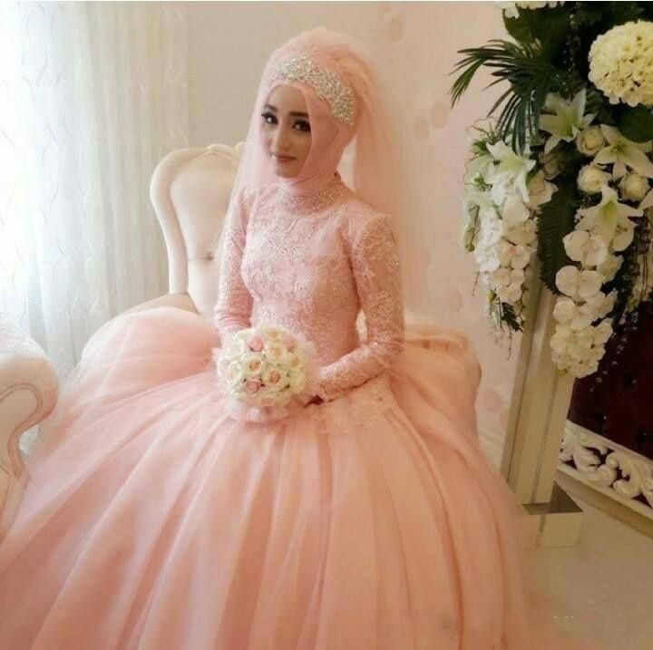 Arabic Wedding Dresses Pink Ball Gown Muslim Wedding Dress Long ...