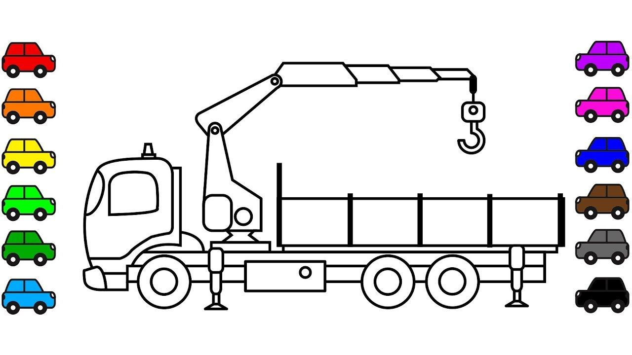 How To Draw Crane Truck Coloring Pages Learn Colors For Kids