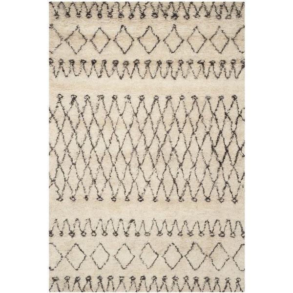 safavieh handmade casablanca moroccan cream brown nz wool shag rug 4u0027 x 6