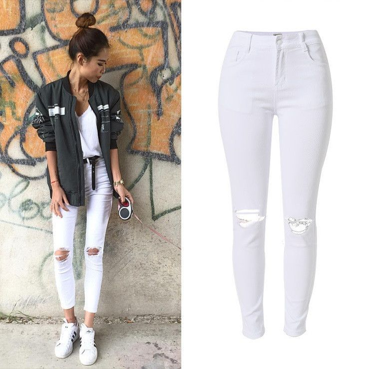 New Fashion Ladies White Ripped Jeans Woman Skinny high waist Jeans Femme  Stretch Jean taille haute plus size 95a7cb87f938