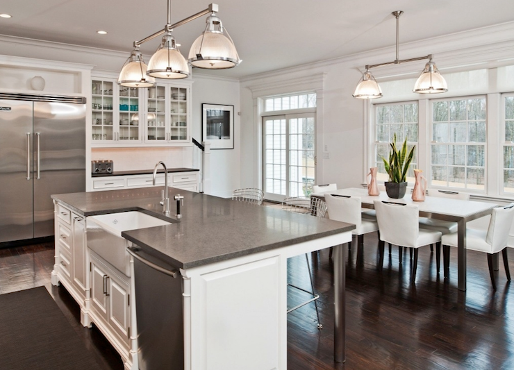 kitchen sink island pendant lights islands with sinks and dishwasher gray granite countertops farmhouse
