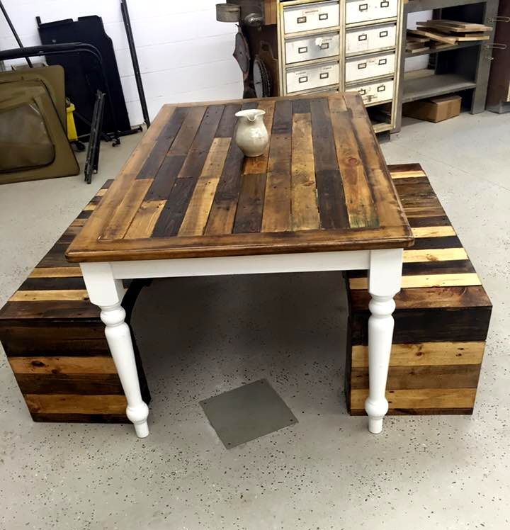 Wood Pallet Benches and Table Set | 99 Pallets