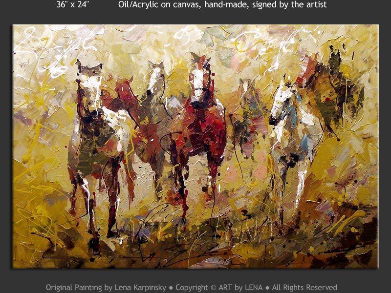 """Chevaux Canadiens"" - Original Animal Art by Lena Karpinsky, http://www.artbylena.com/original-painting/20982/chevaux-canadiens.html"