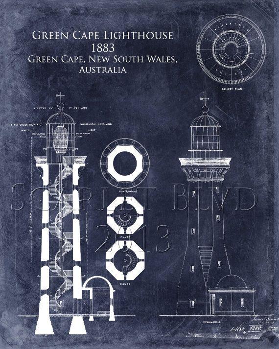 Green Cape Lighthouse Print Architectural Blueprint Art